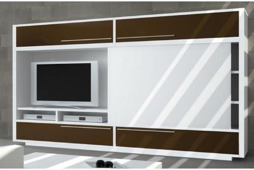 Meuble Bibliotheque Tv Domino Avec Porte Coulissante Une Exclu Atylia Couleur Chocolat Matiere Melamine Amazon Fr Luminaires Et Eclairage
