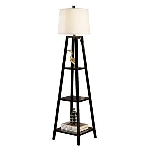 elliot wood shelf floor lamp java black kitchen home. Black Bedroom Furniture Sets. Home Design Ideas