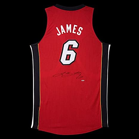 sale retailer f807f f5371 Lebron James Autographed Miami Heat Authentic Adidas Red ...
