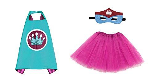 Rush Dance Kids Children's Deluxe Comics Super Hero CAPE & MASK & TUTU Costume (Turquoise Princess (Hot Pink (Super Hero Dress Up)