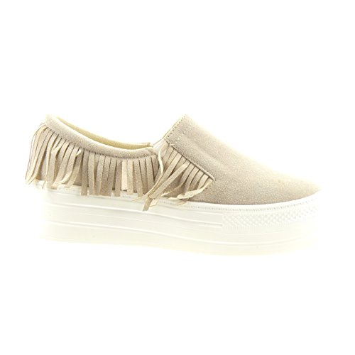 Sopily - Damen Fashion Schuhe Sneaker Slip-on Francese - Beige