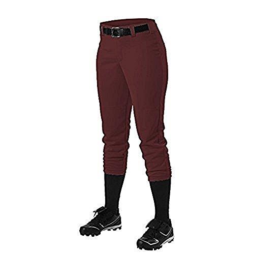 Alleson Ahtletic Women's Fast Pitch Softball Belt Loop Pants, Maroon, ()