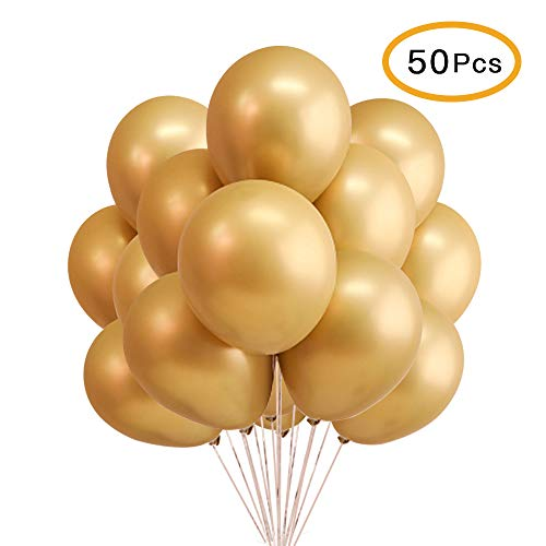 "12"" Metallic Chrome Shiny Latex Balloons for Party Decoration Birthday Wedding Baby Shower Graduation Christmas Halloween - 50 Pcs (Gold)"