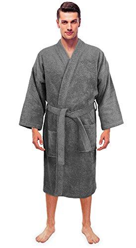 (Turkuoise Men's Terry Cloth Robe Turkish Cotton Terry Kimono Collar)