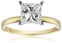Igi Certified K Yellow Gold Classic Princess Cut Diamond Engagement Ring