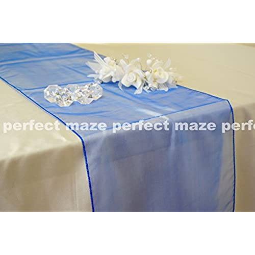 Wedding decorations for reception tables amazon perfectmaze 12 x 108 inch organza table runner for wedding party engagements formal events table decoration 20 colors royal blue junglespirit Choice Image