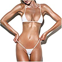 SSQUEEN Women's Halterneck Top and Sexy G-string Set