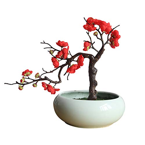 qsbai Artificial Plum Blossom Fake Flower Photo Props Wedding Home Office Shop Decor - -