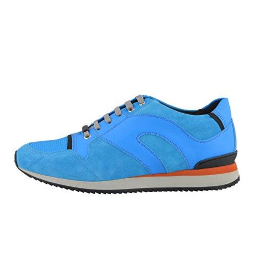 Dior Mens Daim Bleu Cuir Chaussures De Sport Chaussures Bleu