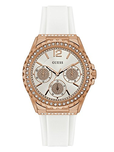 GUESS Women's Stainless Steel Silicone Casual Watch, Color: Rose Gold-Tone/White (Model: - Guess Arrivals New