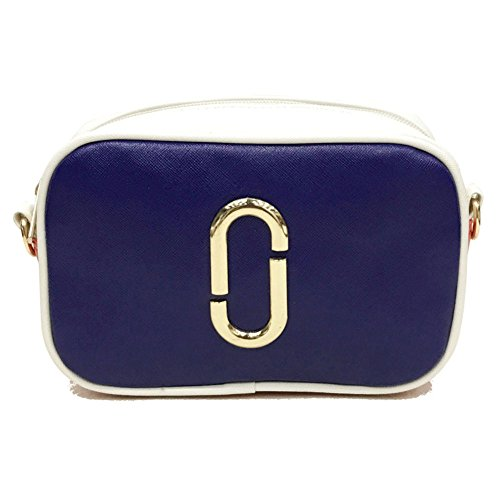 Tide type O Casual Personality Blue Small Wild Bag PU Female Contrast Party Women's Bag Bag Bag Bag Simple Leather Casual Color Bag RZ1waHnqP