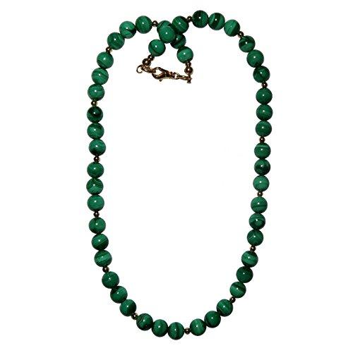 Malachite Necklace Boutique Genuine Green Banded Gemstone Round Beaded Power Stone Energy Healing Handmade B03 (16