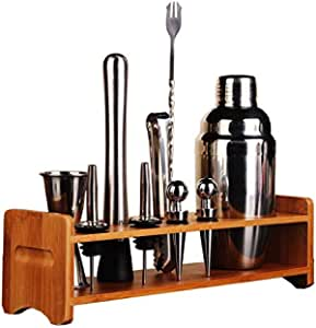 10 Piece Stainless Steel Bar Tool Set with Wooden Display Stand,Includes Cocktail Shaker Filter & Cap,Strainer,Ice Tongs,Dual Measure Jigger,350ml