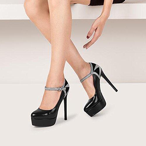couleur Eu35 Black Femmes Imperméable Chaussures uk3 Taille Black Hauts Avec Cjc Boucle À Talons Noir Amende forme Plate En Cuir 6FCgwTq
