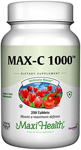 Maxi Health Max Vitamin C -1000mg - with Bioflavonoids - 250 Tablets - Kosher