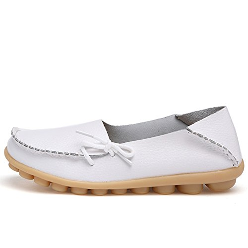 Women's Flats brand Leather Driving White2 Fashion Loafers show Moccasins Wild Round Shoes best Breathable Toe Casual ItYqHdHwx