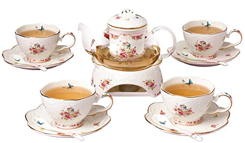 Jusalpha Fine China Porcelain Coffee Cups Flower Series Teacup Saucer Spoon with Teapot Warmer & Filter, 16pcs in 1 set (16pcs set) by Jusalpha (Image #2)