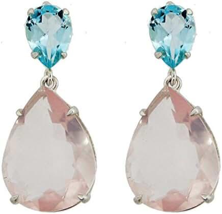 10x7 Blue Topaz 20x15 Rose Quartz Pear Shaped Sterling Silver Earrings