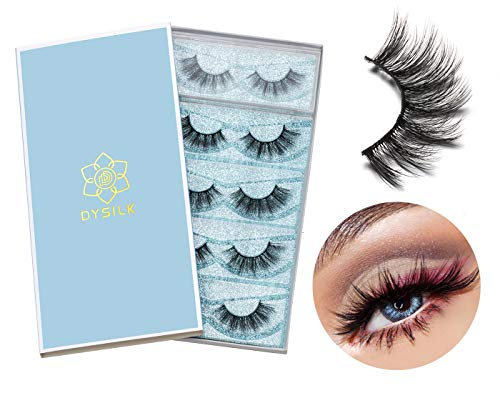 DYSILK 5 Pairs 6D Mink Eyelashes Faux Cross Fluffy Natural Look False Eyelashes Wispies Long Extension Eyelashes Pack Makeup Thick Fake Eyelashes Soft Reusable Lashes|001-15mm