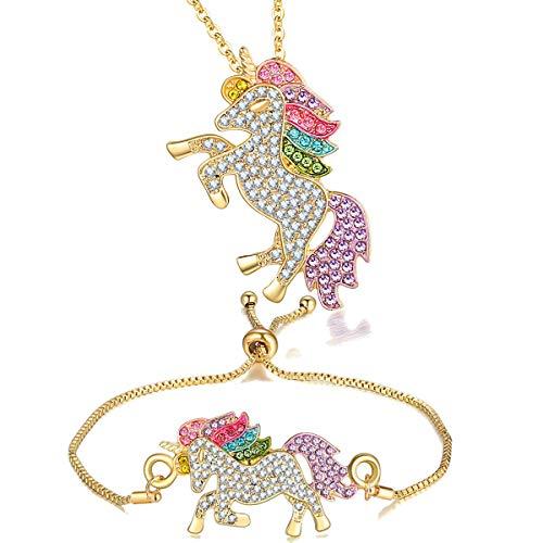 4MEMORYS Rainbow Unicorn Jewelry Set Including Pendant Necklace, Earrings, Bracelet Rhinestone Crystal Rhodium Plated Women Girls Unicorn Gift Set (Necklace and Bracelet-Gold)