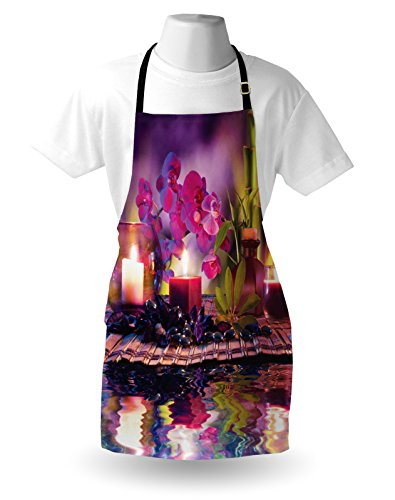 Lunarable Spa Apron, Violet Composition Candles Oil Orchids Bamboo on Water Natural Leaves, Unisex Kitchen Bib Apron with Adjustable Neck for Cooking Baking Gardening, Violet Fuchsia Lime Green by Lunarable (Image #2)