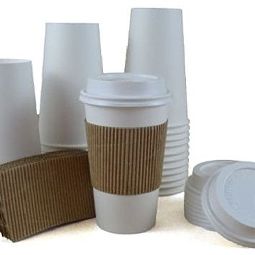 100 Paper Hot Cups With Lids, Sleeves and Stirrers - 20oz Disposable Coffee and Tea Cups for On the Go Beverages - by Sipoes - Disposable Coffee Mugs With Lids