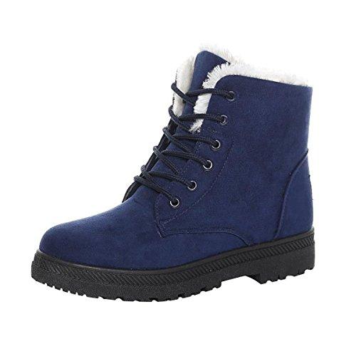 Caro Tempo Donne Stivali Da Neve Invernali Foderato Scarpe Piatte Caldo Piattaforma Sneaker Più Blu