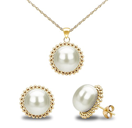 14k Yellow Gold 9-9.5mm White Freshwater Cultured Pearl Beaded Pendant and Stud Earrings Set (Graduated Beaded Chain)