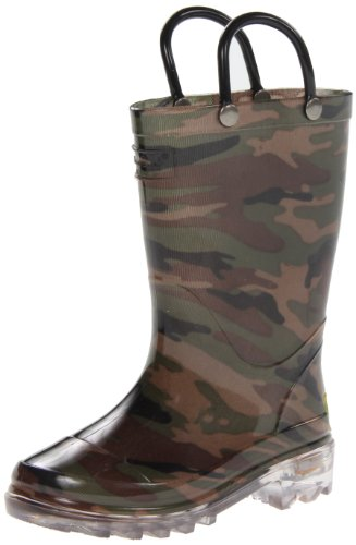 Western Chief Boys Waterproof Rain Boots that Light up with Each Step, Camo Green, 10 M US Toddler