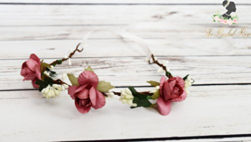 Handcrafted Dusty Rose and Ivory Berry Flower Crown - Dusty Rose Hair Wreath - Flower Girl Halo - Woodland Flower Crown - Bridal Flower Rose