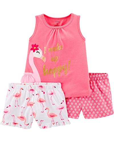 Carter's Girls' 3-Piece Poly Pajamas (Pink/Flamingo, 5T)