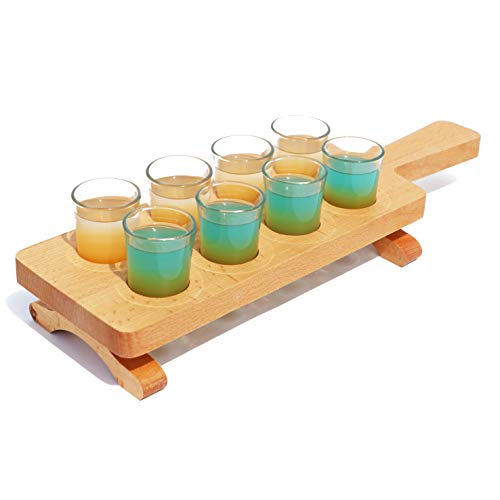Tequila Flight Paddle with glasses Set of 8 | Thick Wooden Serving Base | Barware, Shot | Whiskey, Brandy, Vodka, Rum, Cocktail Serveware| Home, Bar Tasting Accessory | For Party Pro Bartenders (Serving Set Tequila)