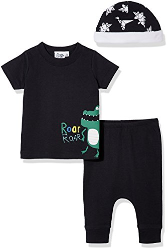 Silly Apples Unisex Baby Cotton Blend 3-Piece Short-Sleeve T-Shirt and Pant with Cap Outfit Set