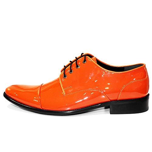 Verni Cuir Orange Handmade Lacer Mandaro Vachette Chaussures Cuir Hommes Modello des pour Cuir Oxfords de Italiennes 6FTAF4vxn