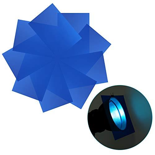 (Neewer 9-Pack Gel Filter, Colored Overlays, Transparent Color Film Plastic Sheets, Correction Gel Light Filter for Photo Studio Strobe Flash, LED Video Light, DJ Light, etc. 11.8x7.9 inches (Blue))
