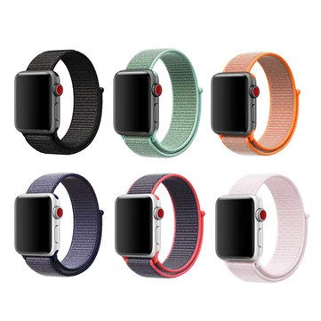 42mm 6 Loopback Nylon Smart Watch Band Bracelet Straps Replacement For Apple Watch 1/2/3/4 - Sport Smart Watches Sport Smart Watches Accessories - (red and black)