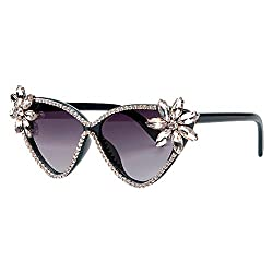 Crystal Cat Eye Sunglasses With UV Protection & Rhinestone