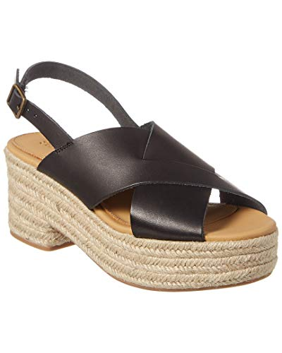 Soludos Amalfi Leather Espadrille Sandal, 9, Black