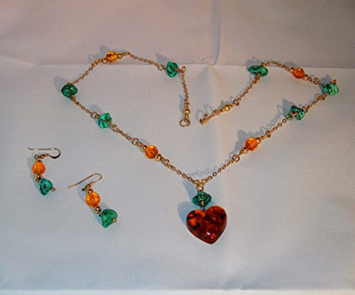 S0119 Baltic Amber and Turquoise Nugget Necklace and ()