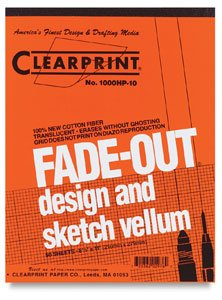 Clearprint Fade-Out Design and Sketch Vellum - Grid 8.5' x 11' x 0.1'...