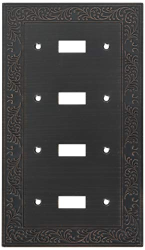 AmerTac 43T4VB 4 Toggle English Garden Wallplate, Aged Bronze by AmerTac