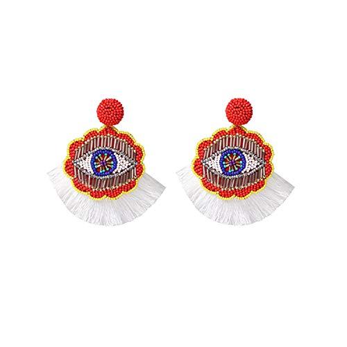 (Handmade Rice Bead Earrings for Women Black Geo Eye Pendant Dangle Earrings Fringed Multicolor,White)
