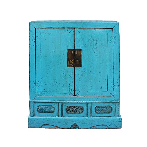 (Chinese Distressed Rustic Turquoise Aqua Blue Foyer Console Table Cabinet Acs5080 )