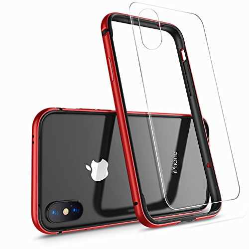 Humixx Aluminum TPU Hybrid Shockproof Bumper Case for iPhone Xs/iPhone X [Extre Series]-Red
