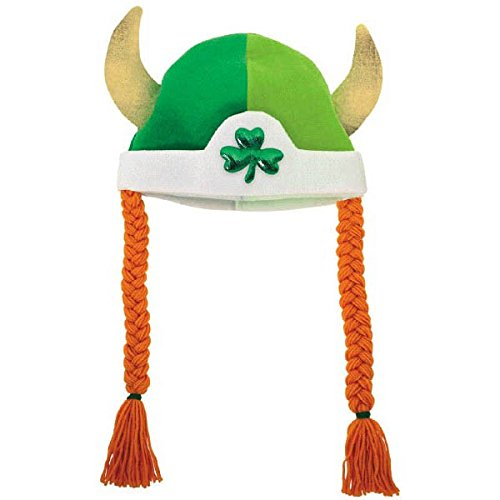 Traditional Irish Costumes (Amscan Cool Viking Hat with Braids St. Patrick's Day Costume Party Head Wear (1 Piece), Multicolor, 21