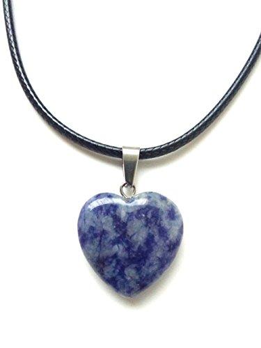 - AIMITH Heart Shape Love Pendant Onyx Crystal Gemstone Rock Stone Chakra Necklace Jewelry (White dot Blue)