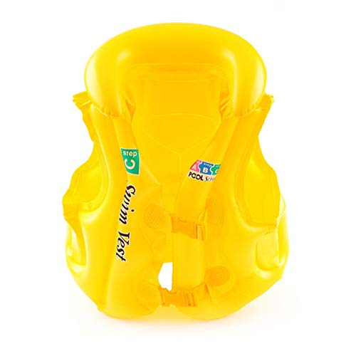YBZS 2019 New Toddler Life Jacket,Inflatable PVC Kids Life Jacket from 30 to 50Lbs, Compatible 20-30 Pounds Infant Baby Toddler, Kids Life Jacket Life Vest for Children,Yellow,S