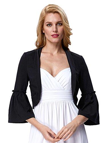 Sleeveless Cropped (JS Fashion Vintage Dress Womens Bell Sleeve Cropped Bolero for Sleeveless Tops (S, Black 514-1))