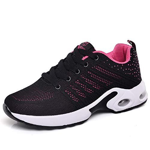 Qiusa Zapatos de Mujer de Color Mezclado Zapatillas de Deporte de Malla Transpirable con Cordones (Color : Rosado, tamaño : EU 37) Negro