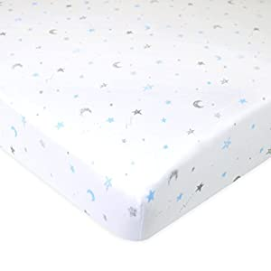 American Baby Company Printed 100% Natural Cotton Jersey Knit Fitted Portable/Mini-Crib Sheet, Blue Stars and Moons…